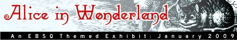 Banner for Alice in Wonderland art show
